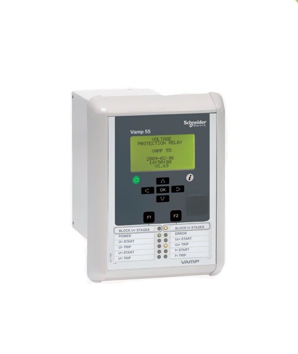 """vamp 55 2 <h6 style=""""text-align: left"""">VAMP 55 FEEDER AND MOTOR PROTECTION RELAY</h6> <h6 style=""""text-align: left"""">KEY FEATURES</h6> <h6 style=""""text-align: left"""">Multifunctional yet user-friendly</h6> <h6 style=""""text-align: left"""">4 voltage inputs that can be configured with any of the available predefined voltage modes, for example: 3LN + LLy/LNy = phase voltage and synchrocheck or 3LN + Uo = Line to neutral and zero sequence</h6> <h6 style=""""text-align: left"""">12 programmable LEDs : 2 fixed (power, error) and 8 freely programmable with 2 freely programmable push buttons (with LEDs)</h6> <h6 style=""""text-align: left"""">Single line diagram mimic with control, indication and live measurements</h6> <h6 style=""""text-align: left"""">Unicode language support for translation into any language</h6> <h6 style=""""text-align: left"""">Available as a slimline (S) case versionAvailable as a slimline (S) case version</h6>"""